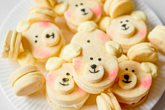 cute polar bear cookies on a plate