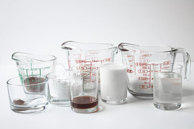 ingredients in glass measuring cups