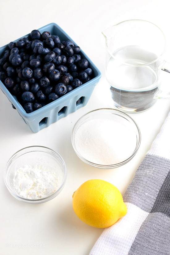 ingredients for blueberry sauce
