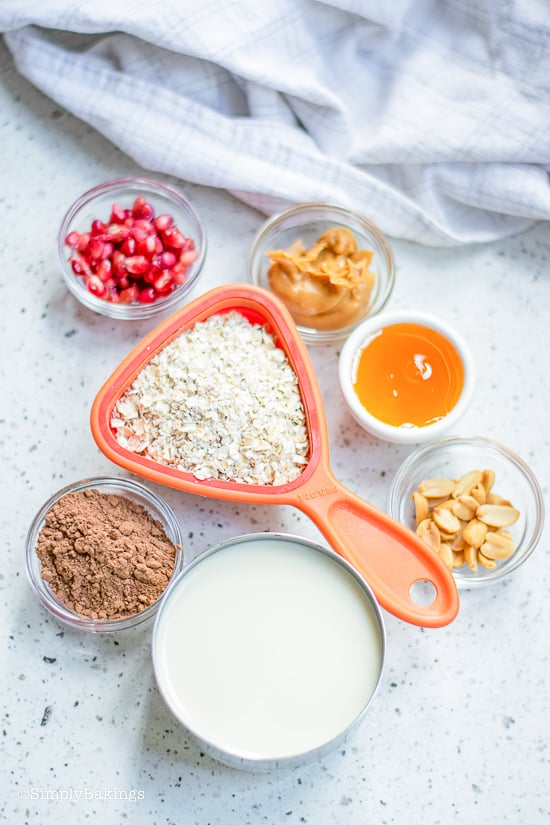 ingredients for chocolate oatmeal