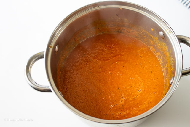 tomato soup cooked in a pot