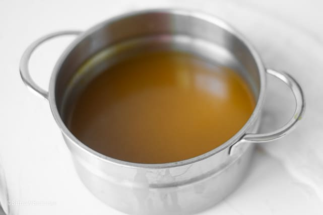 a pot of vegetable broth