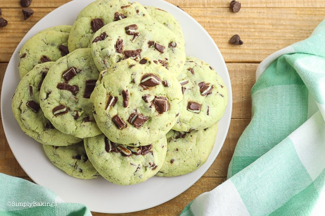 mint chocolate chip cookies on a white plate
