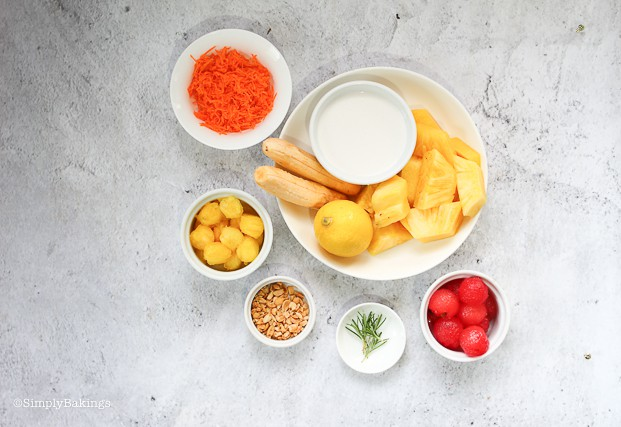 ingredients for Pineapple Banana Smoothie Bowl