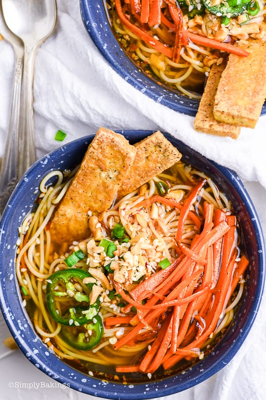 a bowl of vegetarian ramen