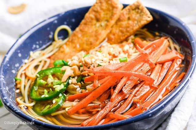 vegetarian ramen in a blue bowl