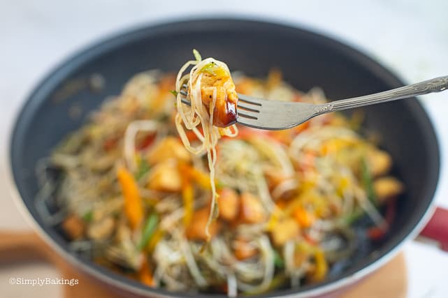 stir fried mung bean sprouts in a fork