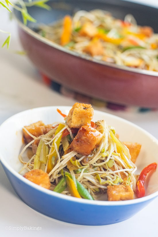 stir fried mung bean sprouts served in a blue bowl