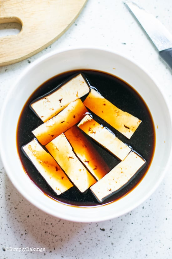 sliced tofu in a marinade sauce