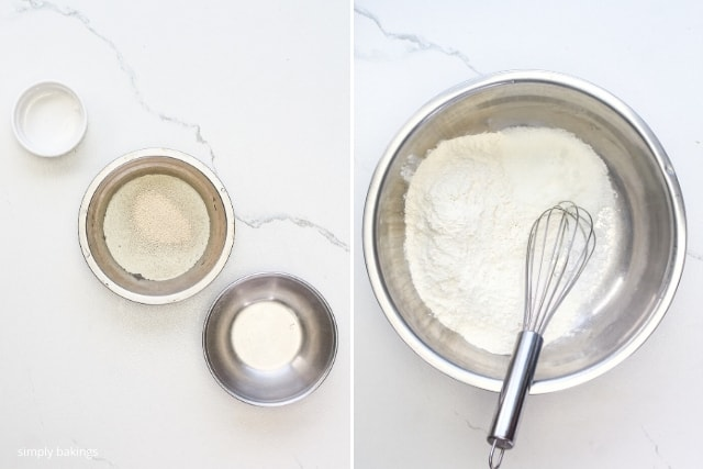 a warm water, yeast, and sugar in different small-sized bowls and a mixture of sugar, salt, and flour in a big bowl with a beater