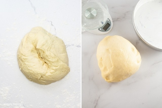 ensaymada dough placed on a working surface to rise