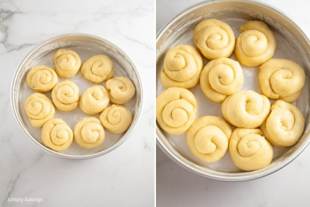 ensaymada dough rolls placed on a round pan