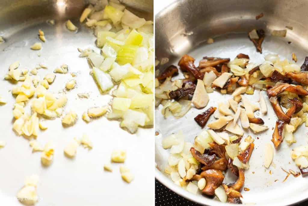 shiitake mushroom and spices sautéed on a pan