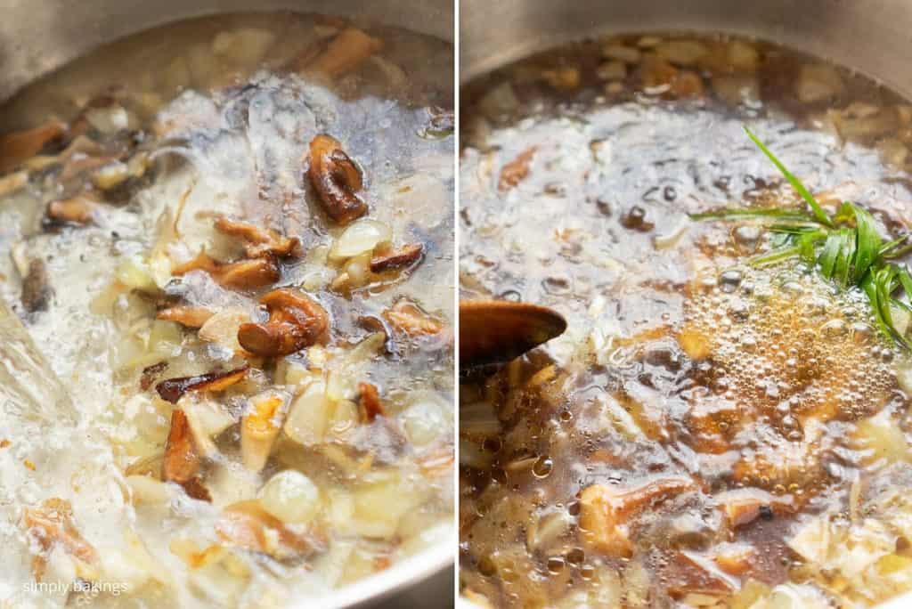 adding water, mushroom, lemongrass, brown sugar, soy sauce and mushroom seasoning to make a broth