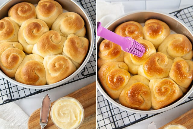baked ensaymada brushed with softened butter on the top
