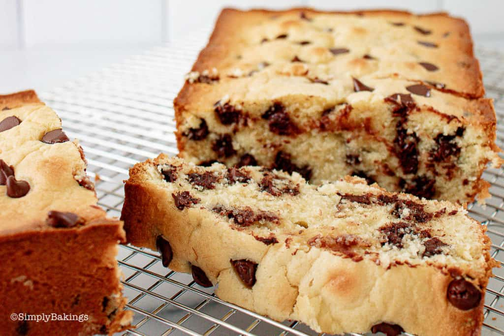 slices of Banana Chocolate Chip Pound Cake on a cooling rack