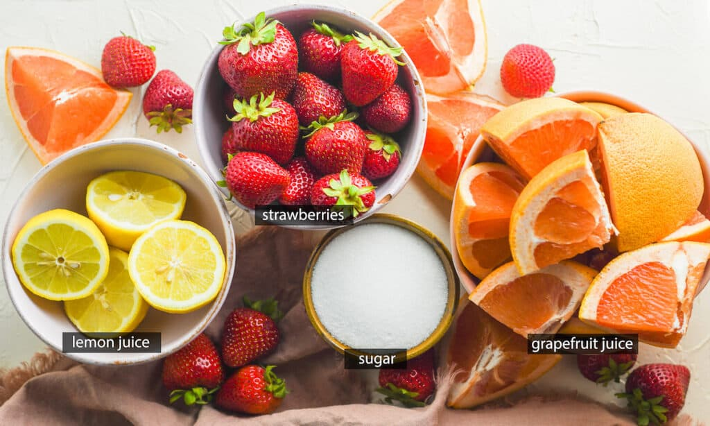 ingredients for Grapefruit Strawberry Popsicles recipe