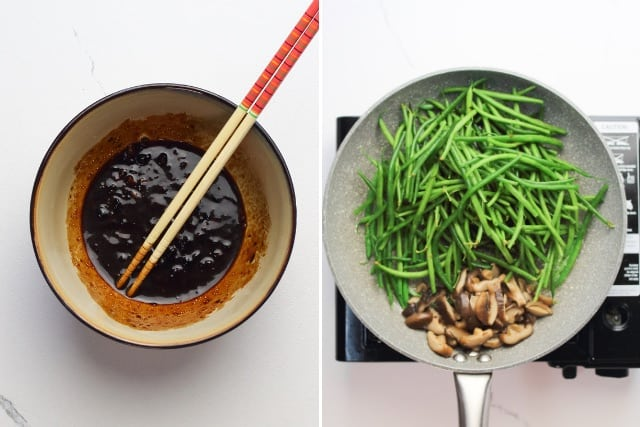 black bean sauce, soy sauce, vinegar, and brown sugar mixture in a bowl and  French beans and shiitake mushrooms sautéed in a pan