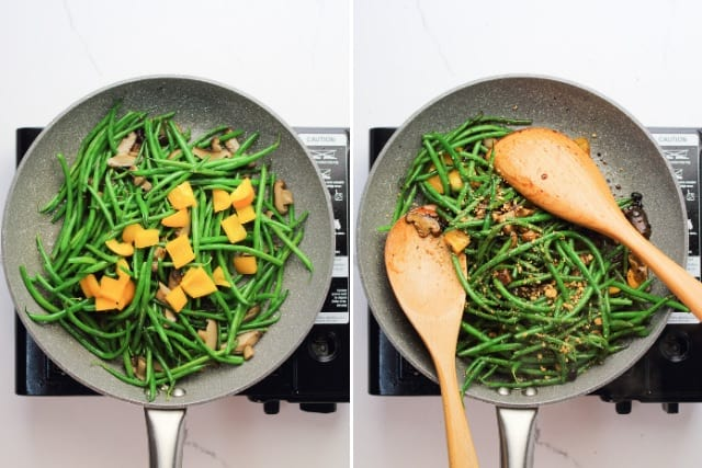 cooked French green beans with black bean sauce in a pan