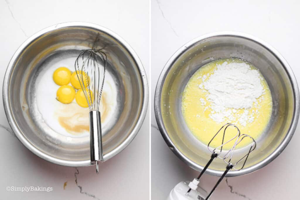 a mixture of egg yolks, milk, vanilla extract, sifted cake flour, salt, and baking powder in a bowl with a handheld mixer