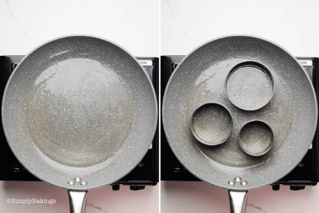 a non-stick pan with cooking oil and 3 ring molds