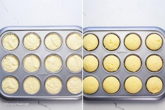 baked lemon cupcake batter in the cupcake liners