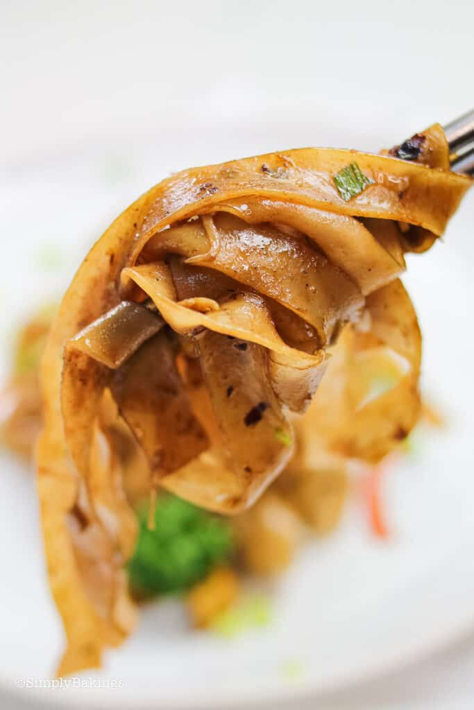 delicious Malaysian stir fried noodles seasoned with pepper and held using stainless chopsticks