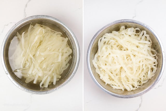 dried rice noodles soaked in a large bowl with warm water