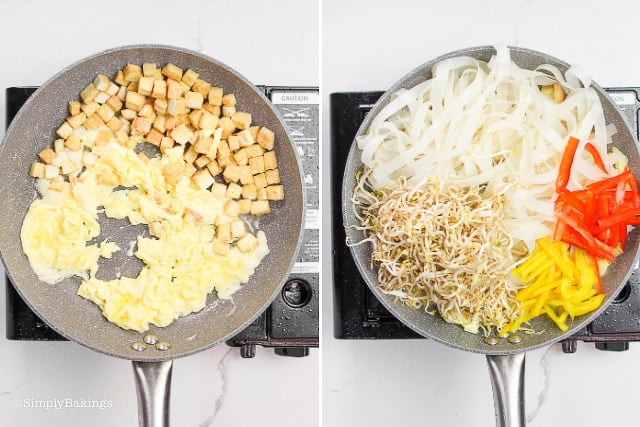 fried tofu. scrambled egg, rice noodles, bean sprouts, red and yellow bell peppers tossed in the pan