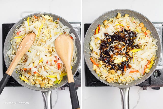 adding the sauce mixture and stirring to coat the noodles and the vegetables evenly