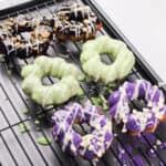 mochi donuts on a cooling rack
