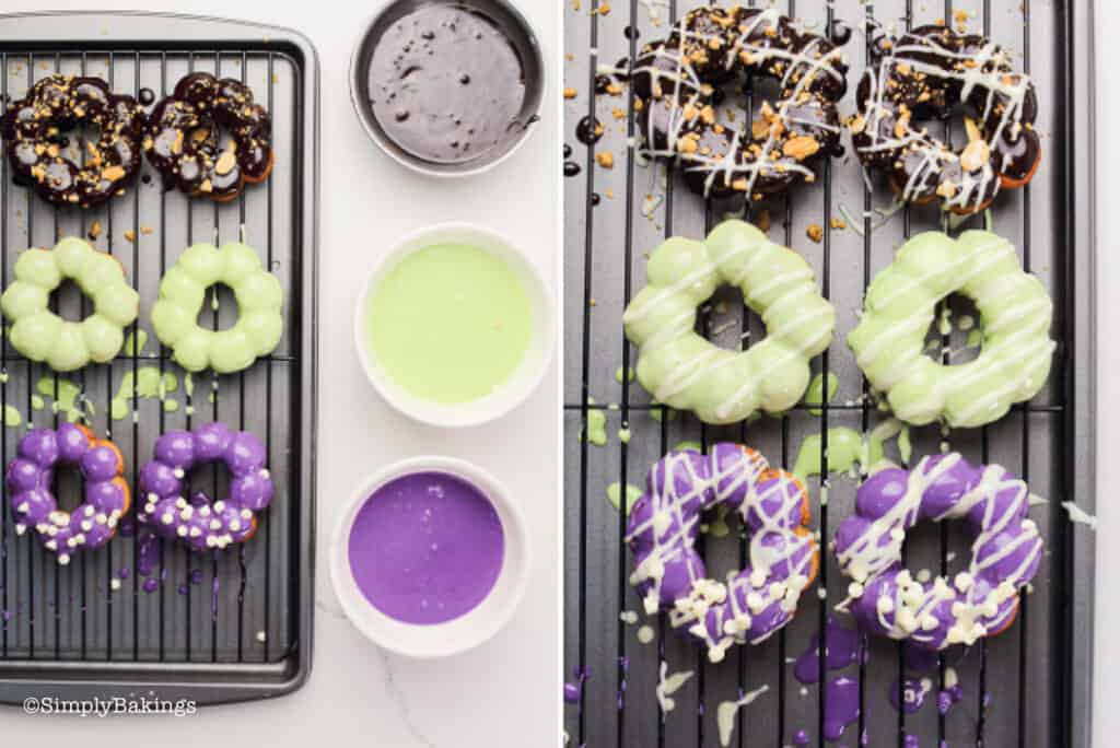 fried mochi donuts with ube, matcha and chocolate glaze on a cooling rack with a bowl of each glaze flavor