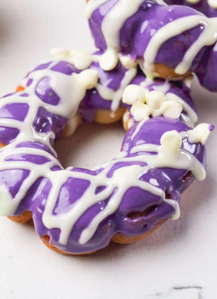 ube glazed mochi donut