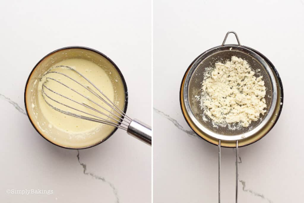 silken tofu pressed through a fine-mesh sieve and whisked with egg and milk