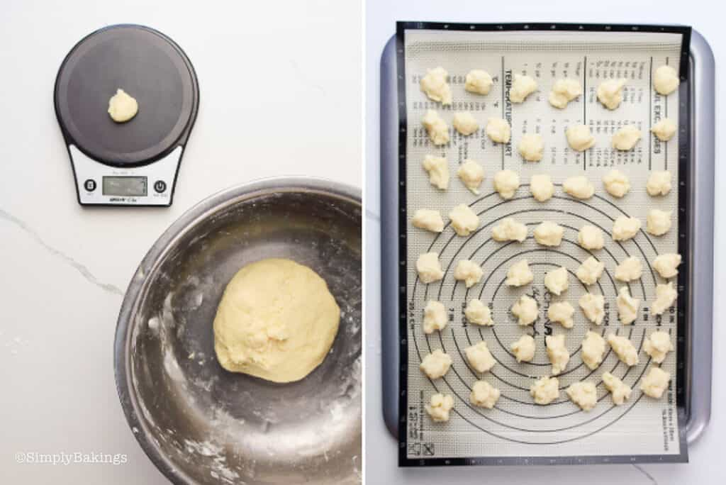 small mochi donut dough weighed on a kitchen scale and formed into smaller balls then placed on a silicone mat