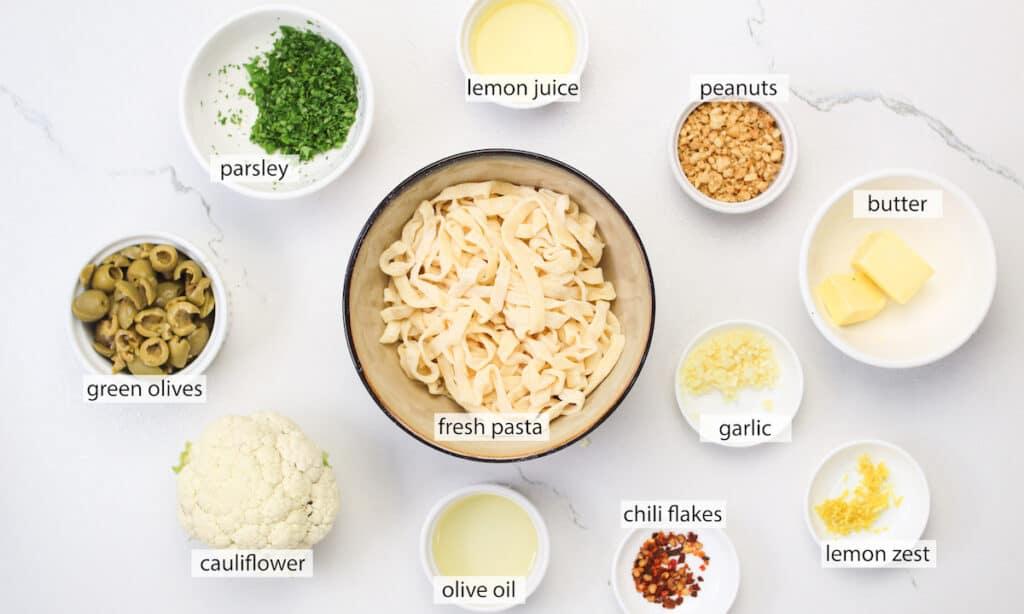 ingredients for roasted cauliflower pasta recipe