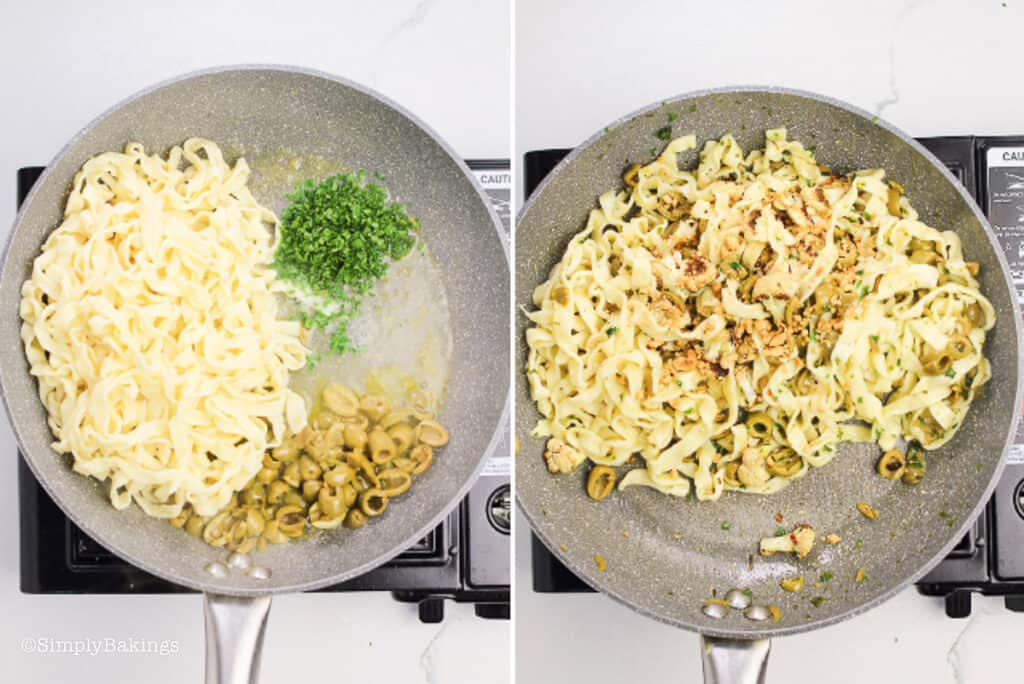 pasta, parsley, lemon juice, cauliflower tossed together in a pan and seasoned with salt, pepper then sprinkled with ground peanuts,