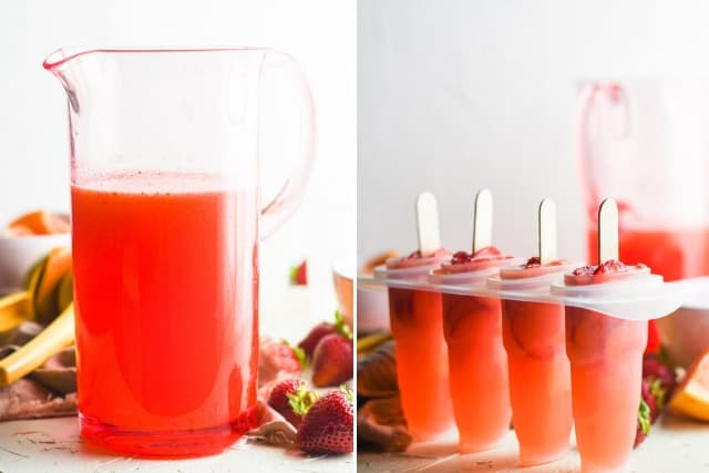 grapefruit juice, lemon juice, blended strawberry mixture in a pitcher and placed into popsicle molds with fresh cuts of strawberries