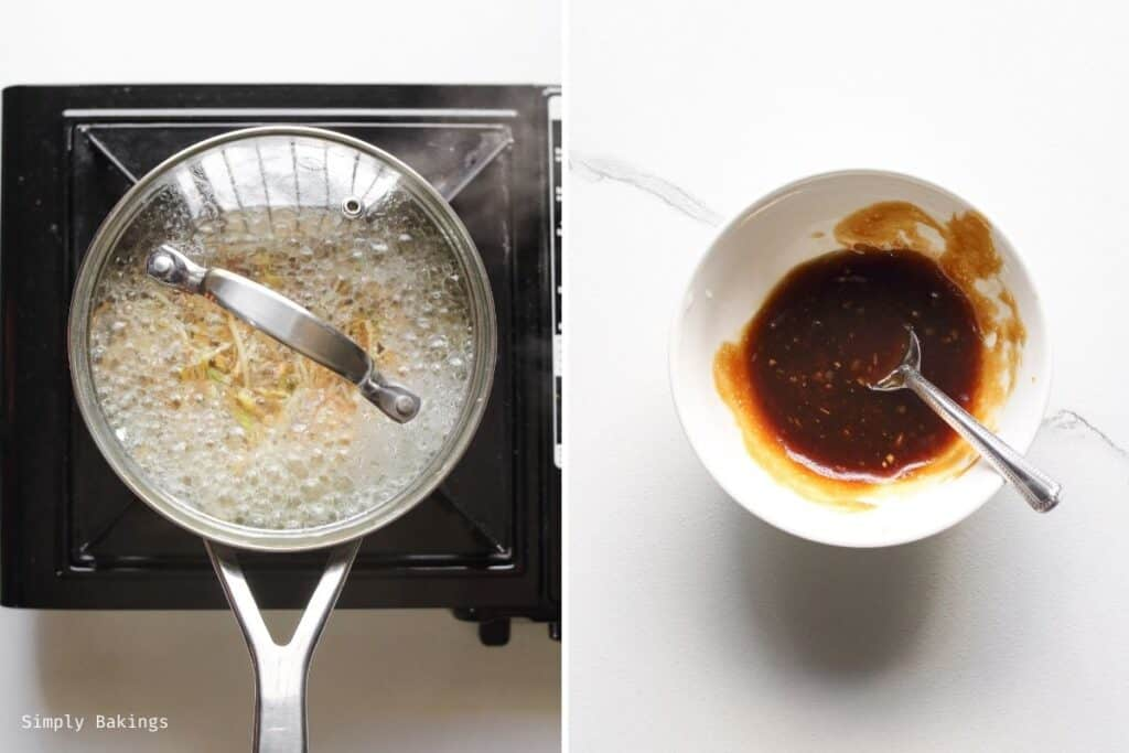 boiling soybean sprouts in a medium sauce pan and a sauce made of vegetarian oyster sauce, gochujang paste, brown sugar, minced garlic, and sesame oil in a small white bowl with a stainless spoon