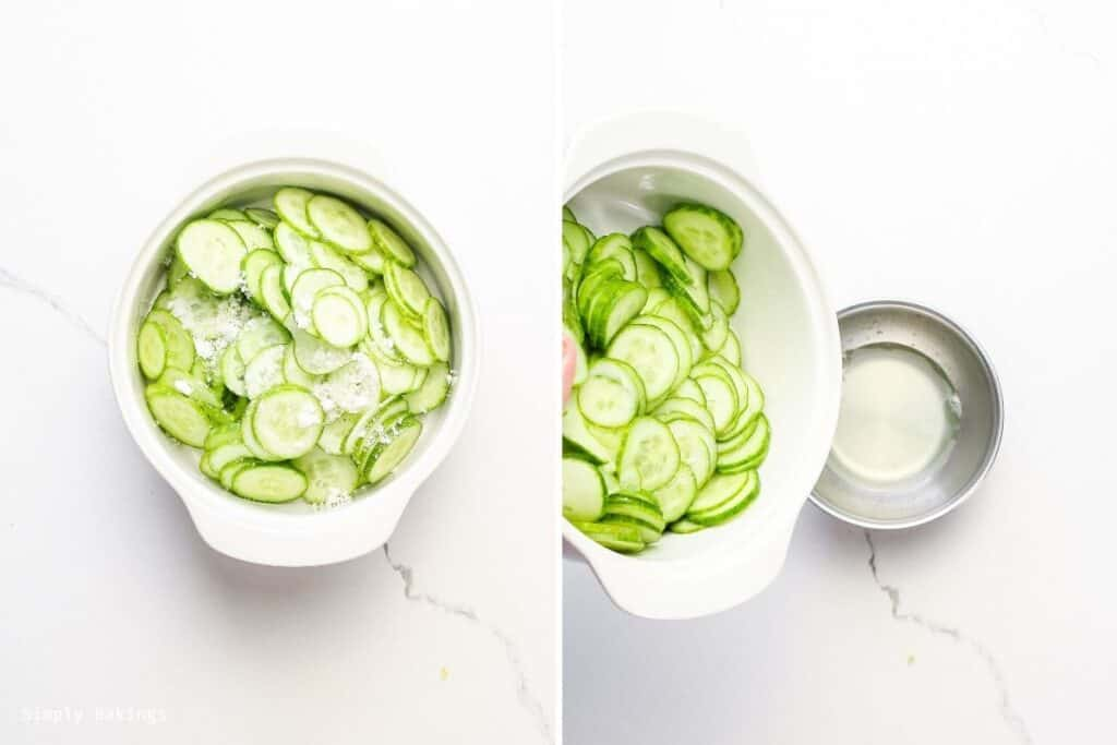 mixed sliced cucumbers and salt in white bowl