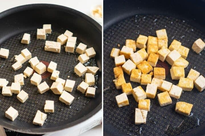 fried tofu on a frying pan