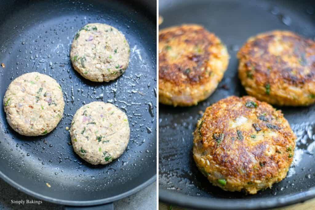 cooking three vegan oat patties on a pan..