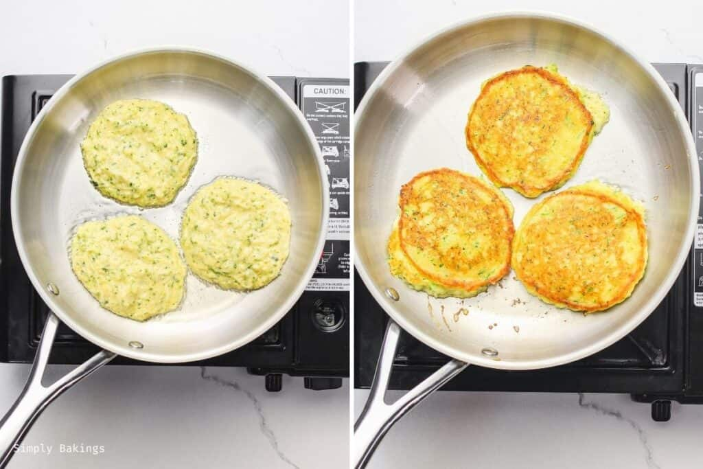 cooked the zucchini pancakes in a large pan