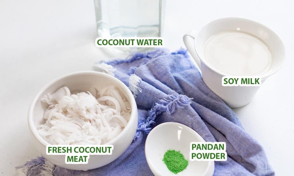 ingredients for buko pandan juice recipe