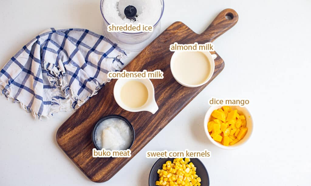 ingredients for mais con yelo recipe