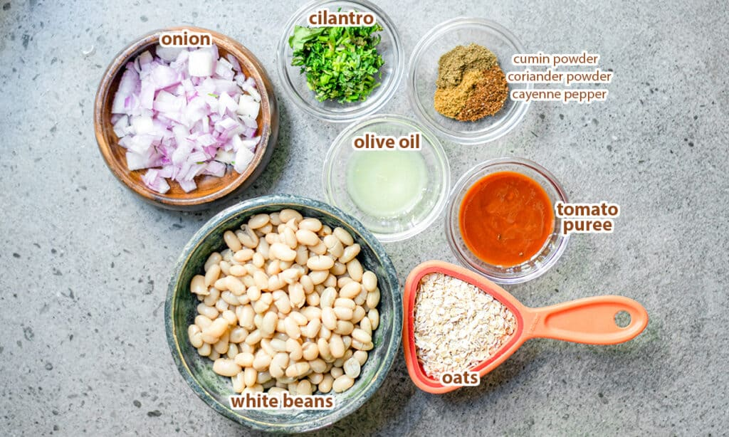 ingredients for oats burger recipe