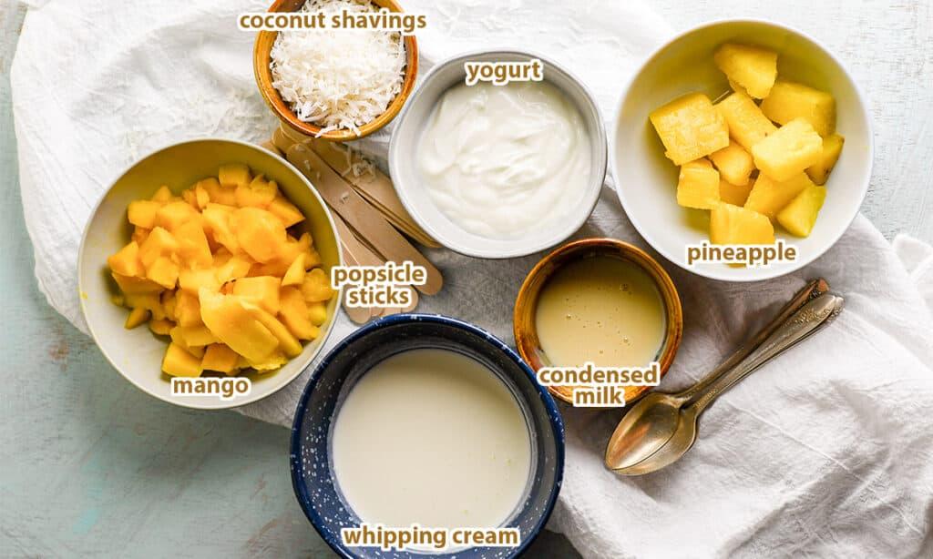 ingredients for Piña Colada Popsicle recipe