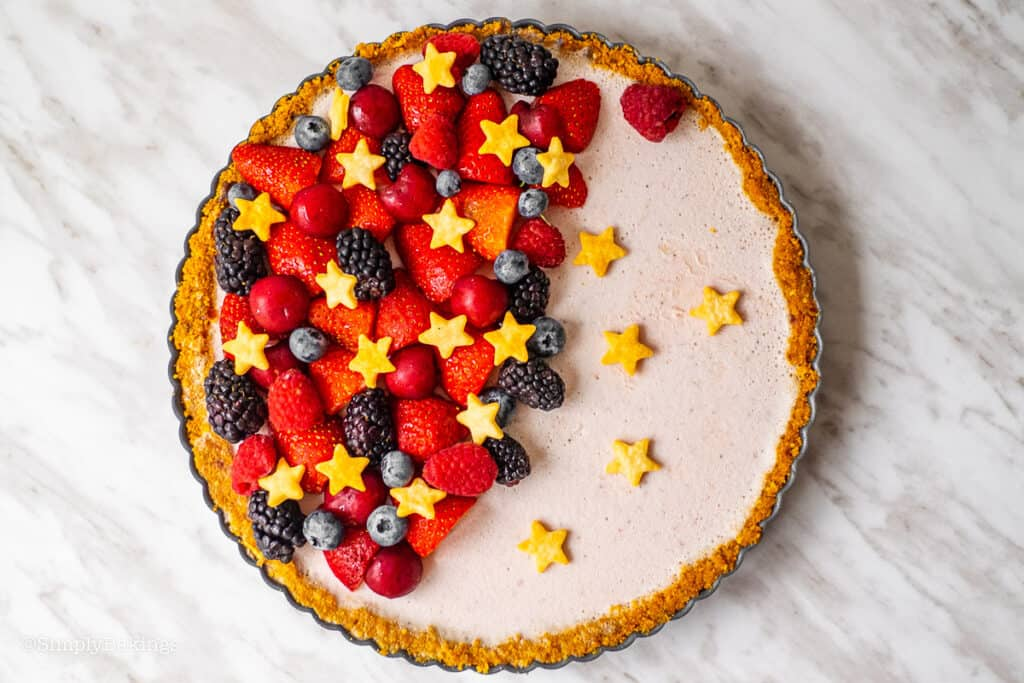 delicious berry fruit tart on a table