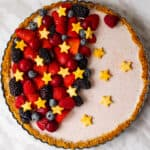 pretty and delicious berry fruit tart on a table