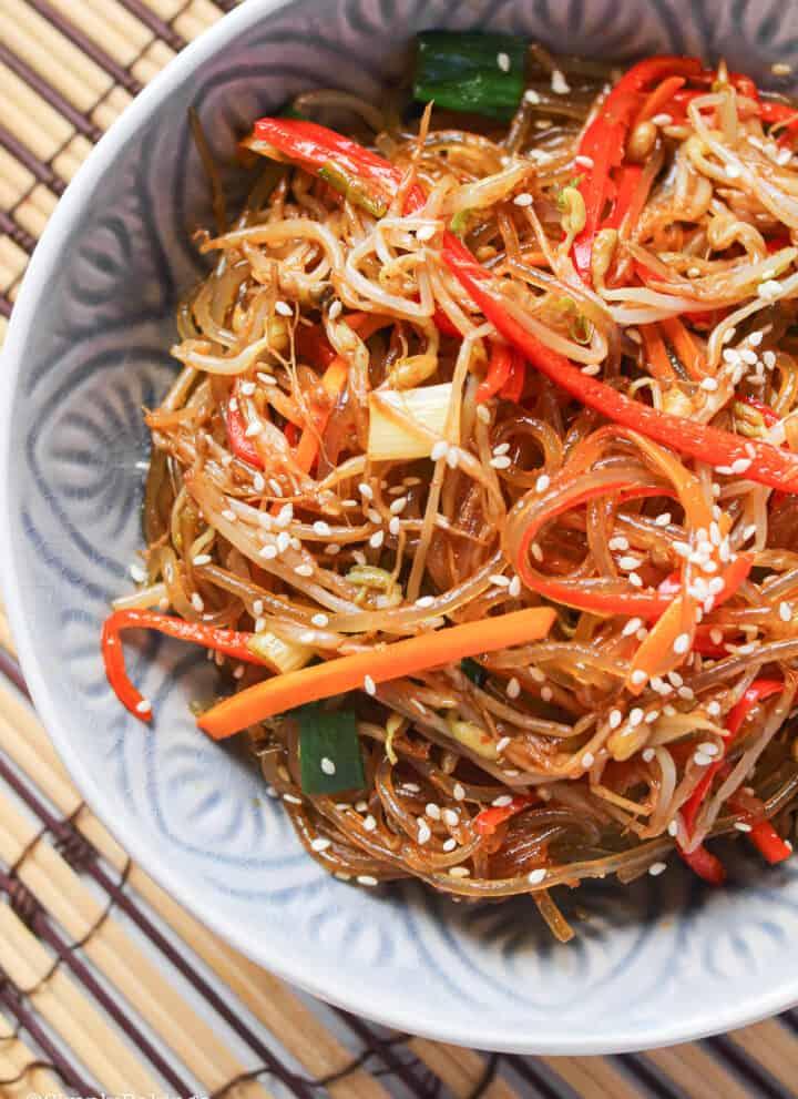 sweet potato noodles in a bowl